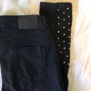 Zara Black Jeans With Gold Embellished studs